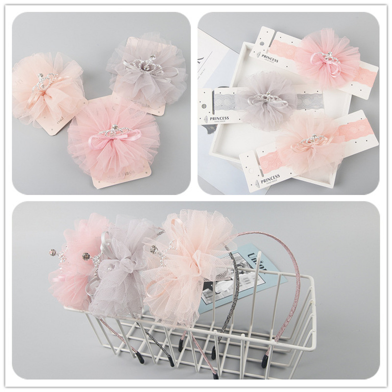 Korea Fashion Cute Children Mesh Crown Flower Hair Clip Headband Hairband For Baby Girl  Birthday Party Hair Accessories Gifts