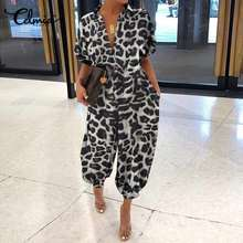 Celmia Plus Size Women Rompers Casual Short Sleeve V-Neck Sexy Jumpsuits Ladies Sumemr Leopard Print Playsuits Elegant Bodaysuit(China)