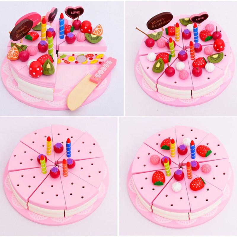 Nouveau 1 ensemble semblant jouer jouets ensemble de cuisine crème gâteau coupe en bois jouets magnétiques enfants cognitif Puzzle éducatif D113
