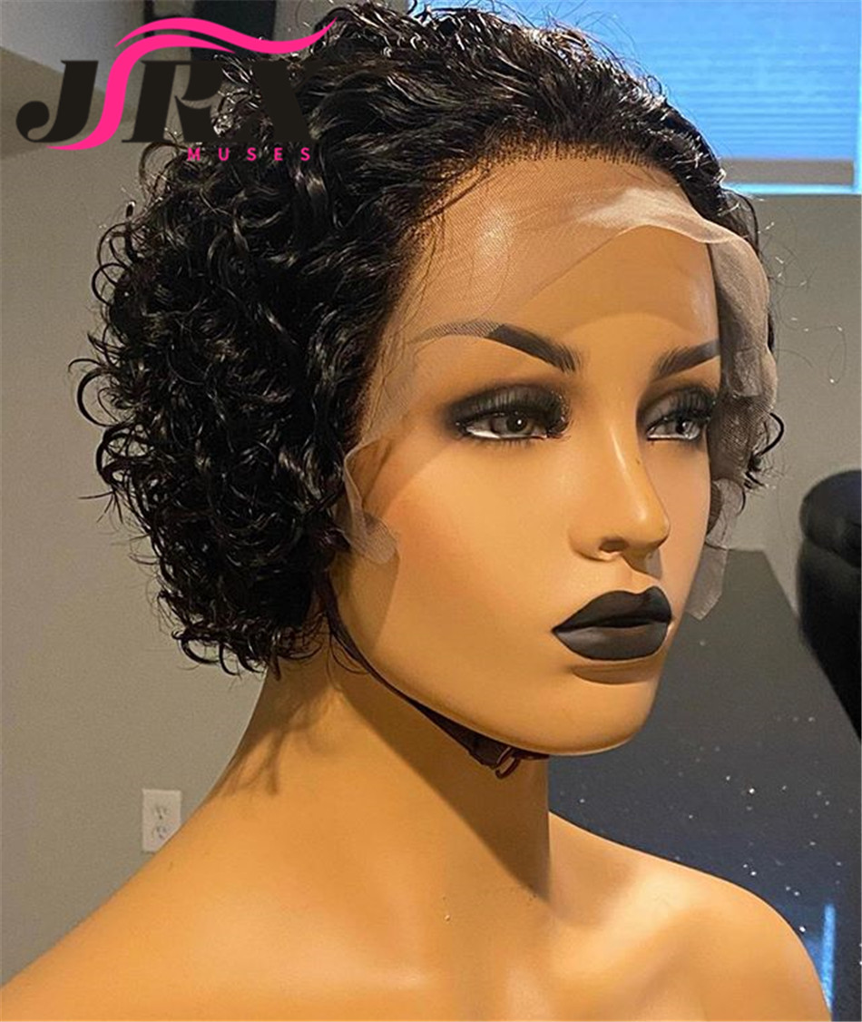Silk Top Pixie Cut Lace Front Wig Preplucked Short Bob Human Hair Wigs