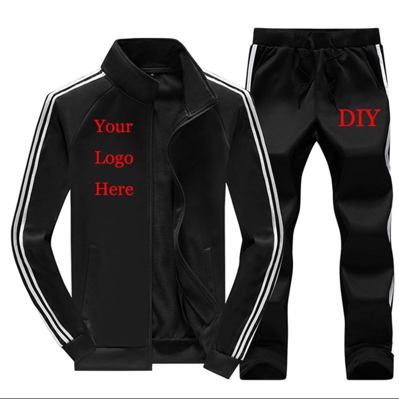 TrackSuit Custom Heat Transfer Print Logo Men Sweatsuit Sets 2 Piece Jacket Pants Customized Embroidery DIY Text Plus Size 4XL