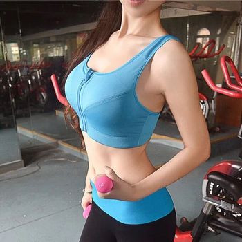 Hot Women Zipper Push Up Sports Bras Vest Underwear Shockproof Breathable Gym Fitness Athletic Running Yoga Sport Tops 2020 Sports & Lifestyle Sports Apparel Sports Bra Color: Blue Size: 2XL