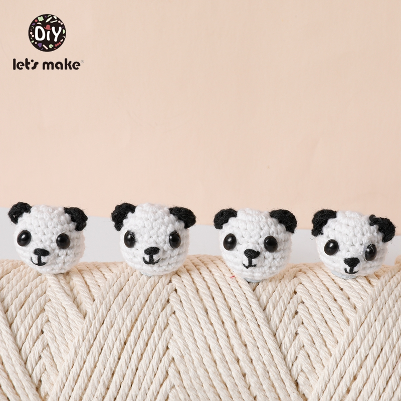 Let's Make Crochet Beads Baby Teether 5pcs DIY Pacifier Chain Mitten Panda Rabbit Wholesale Baby Products For Newborns BPA Free