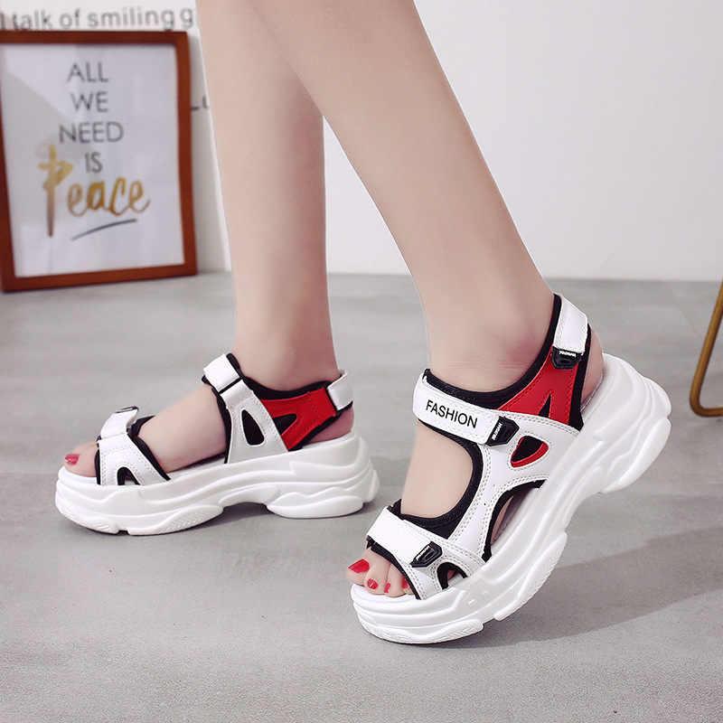 רומא סנדלי נשים קיץ 2020 שטוח פלטפורמת טריז נעלי סנדלי Harajuku חוף בוהן פתוח וו & לולאה גובה הגדלת סנדלי