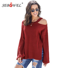 SEBOWEL Woman's Asymmetric Cut out Shoulder Knitted Pullover Sweater Female Long Sleeve Tops Solid 2019 Autumn Spring Size S-XL long sleeve asymmetric cut out tee