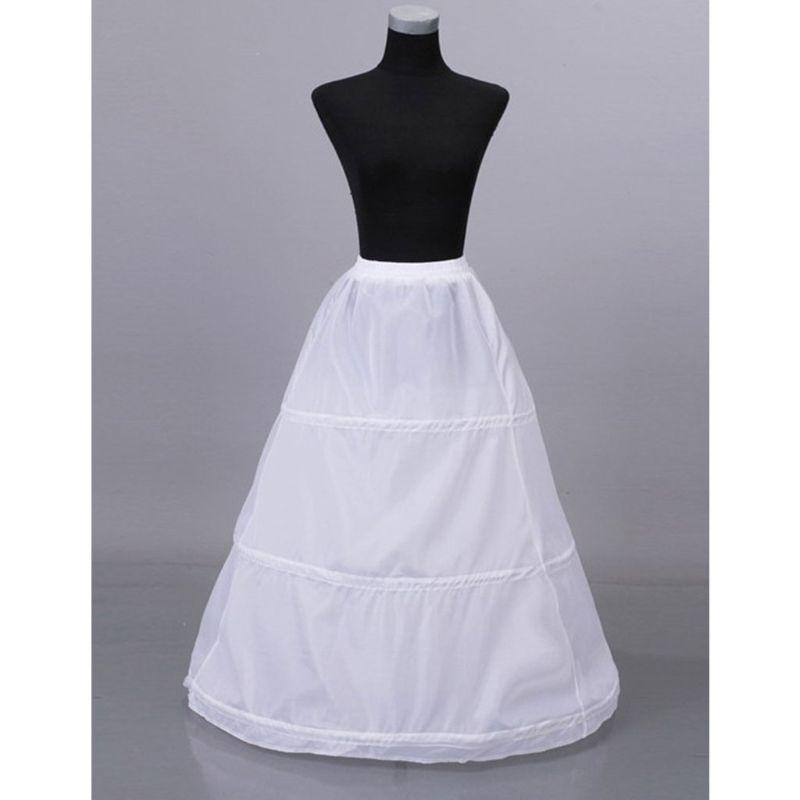 3 Hoops Elastic Waist Yarnless Pettiskirt Bridal Wedding Dress Skirt Lining Women Party Prom Costume Skirts Petticoat E15E