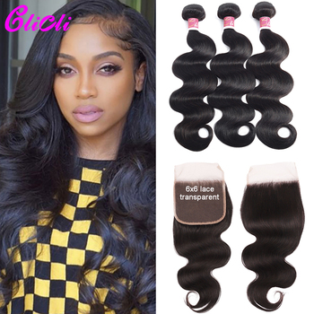 Transparent lace bundles with closure body wave peruvian remy hair 3 bundles With 4x4 6x6 lace closure hair weaves extensions image