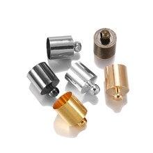 Capuchon d'extrémité pour cordon en cuir, 20 à 50 pièces/lot, adapté pour 3 4 5 6 7 8 9 10mm, pompon, capuchon à sertir, perles, fournitures pour la fabrication de bijoux, bricolage