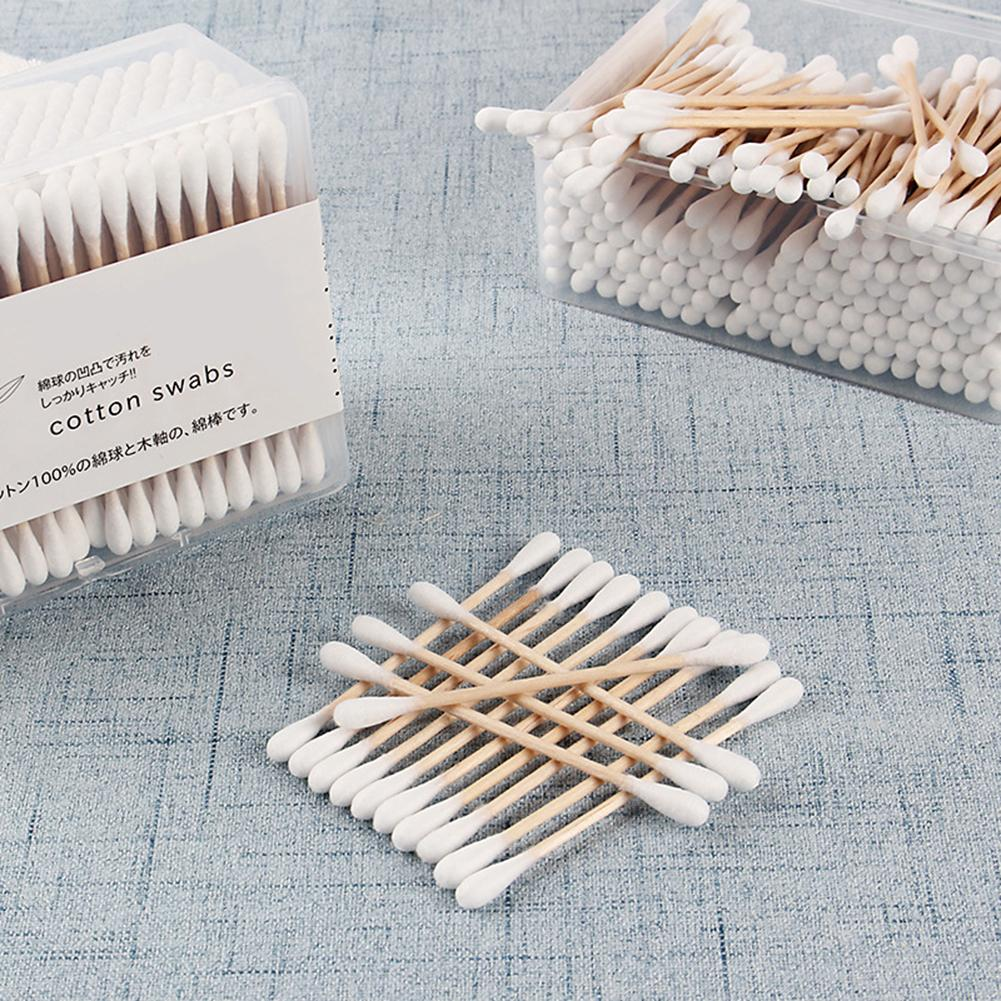 200 Pcs/Pack Disposable Cotton Swab Double-Headed Wooden Stick Multi-Purpose Makeup Accessories Sanitary Cleaning Cotton Swabs