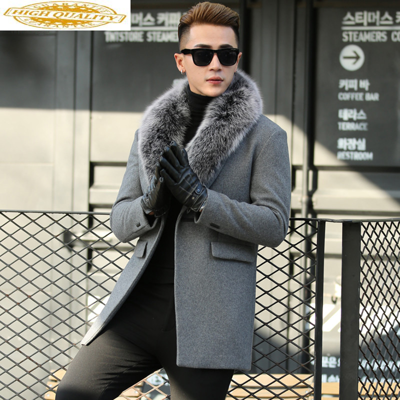 Autumn Winter Real Fox Fur Collar Wool Men Coat Korean Cashmere Jacket Men's Windbreaker Overcoat Abrigo Hombre KJ649