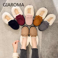 Slippers Women Home Shoes Ladies Fluffy Slides Bow Decore Warm Faux Fur Shoes Female Winter Indoor Slippers Round Toe Flats