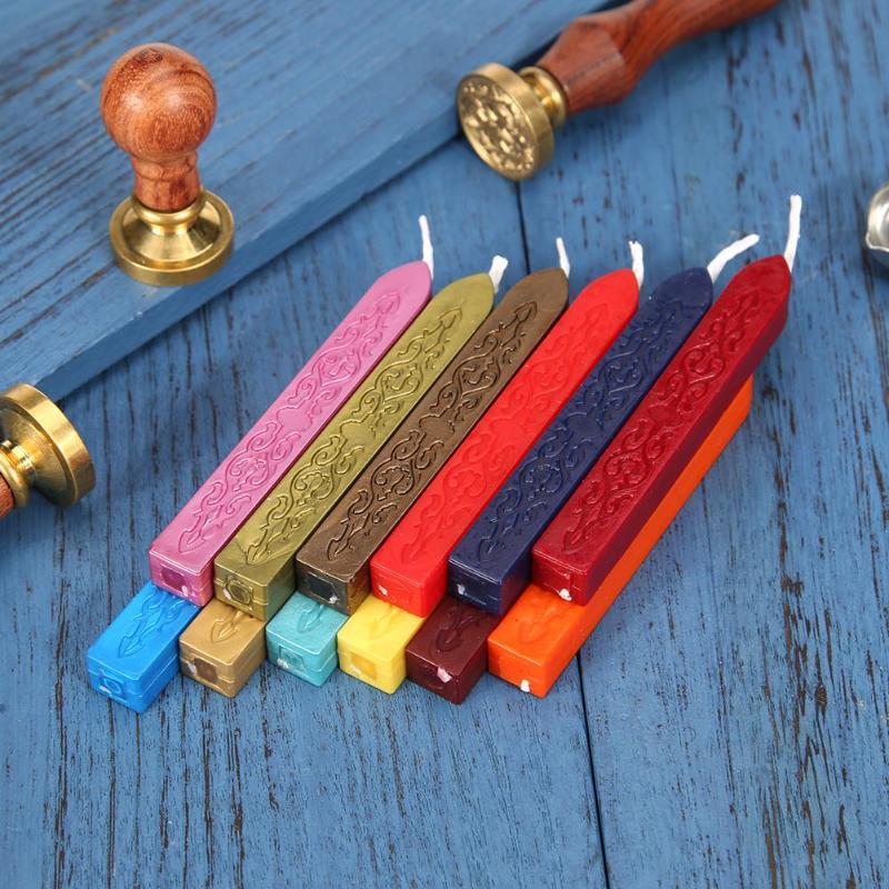 12 Colors Vintage Ancient Sealing Wax Stick For DIY Wedding Invitations Craft Antique Retro Seal Stamps Bar Wick DIY Tool Xmas G