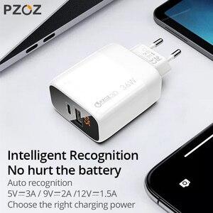 Image 4 - PZOZ PD 18W hızlı şarj 3.0 USB şarj cihazı 36W hızlı şarj LED ekran ab duvar adaptörü için iphone11 8 7 6s xiaomi redmi note 9s