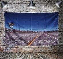 Rota 66 motociclista motociclista retro eua bandeira arte decoração para casa pendurado bandeira 4 gromments em cantos 3 * 5ft 144*96cm