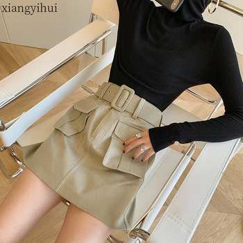 Solid Khaki Women Cargo Mini Skirt 2020 Summer Female High Waist Pocket Belt Skirts Casual Fashion Package Hip A Line Skirts