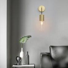 Nordic lâmpada de parede vidro longo braço dourado e27 arandela luz para loft quarto cabeceira interior escada iluminação decoração luminárias