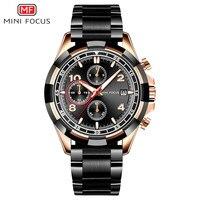 Mini FOCUS Fox Mf0198g Men Casual Quartz Watch Japan Movement Three Small Disc Steel Belt Watch