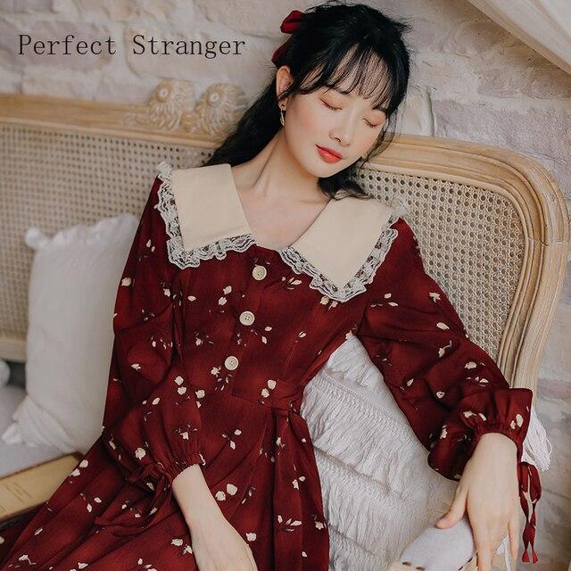 2020 Autumn New Arrival High Quality Retro Peter Pan Collar Flower Printed Women Long Cotton Dress 3