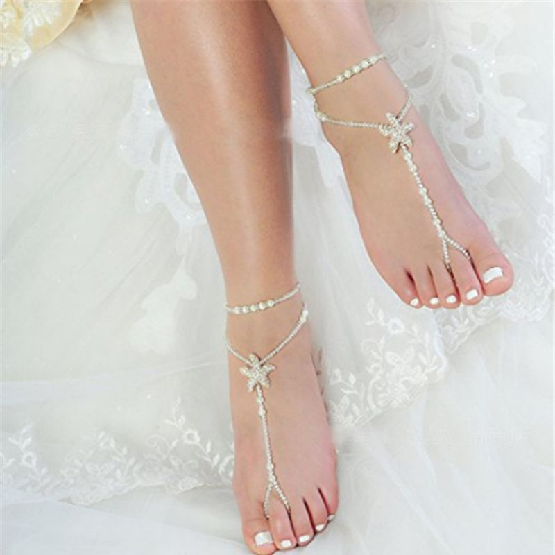 2 Pcs/Set Pearl Ankle Chain Beach Wedding Foot Jewelry Barefoot Sandal Anklet Chain For Women