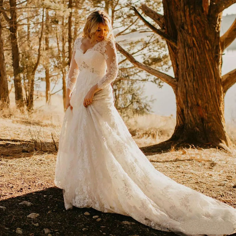 Eightale Plus Size Wedding Dresses 2020 V-Neck Appliques High Waist Beaded Long Sleeves Wedding Gowns Custom Made Bride Dresses