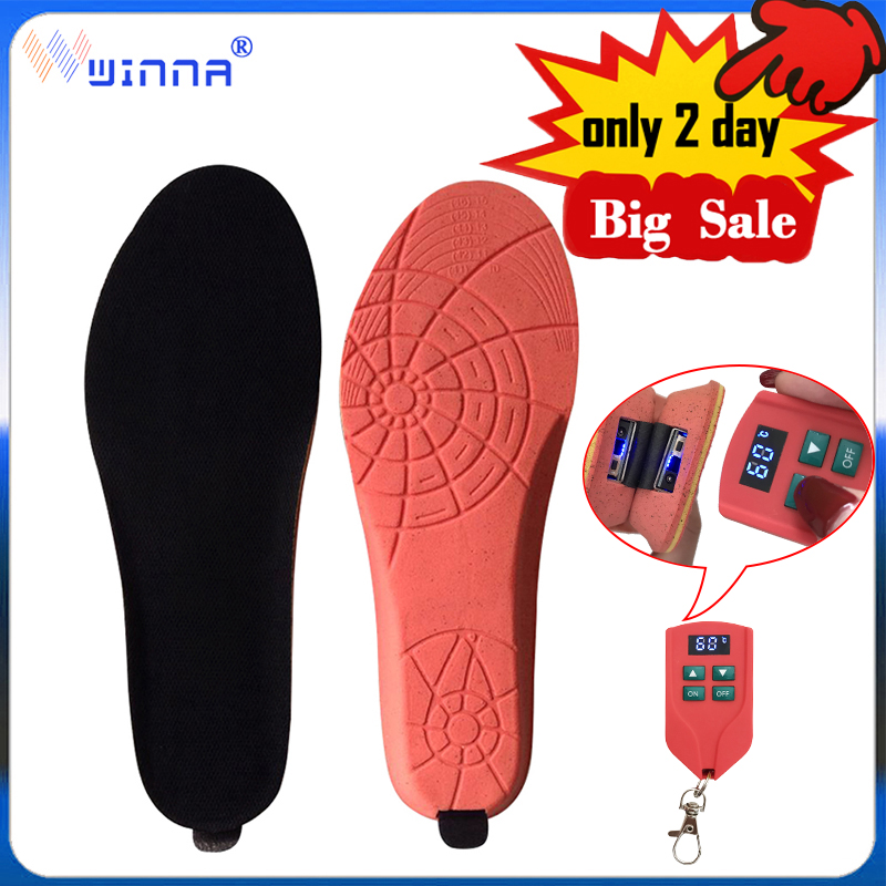 New 2000mAh Heating Insoles With LED Remote Control Men Women Sport EVA Shoes Pads Outdoor Skiing Heated Insoles EUR 35-46 Size