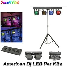 цены LED Par Kits 7X10W RGBW 4IN1 LED Flat Par Light With Light Stand And Foot Controller Dj Equipments For Stage Light Party Wedding