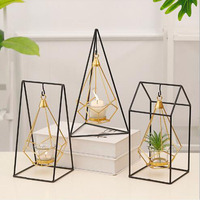 Nordic ins gold geometric wrought iron hanging candlestick Holder Ornament Sconce Matching Steel Minimalist wedding Home decor
