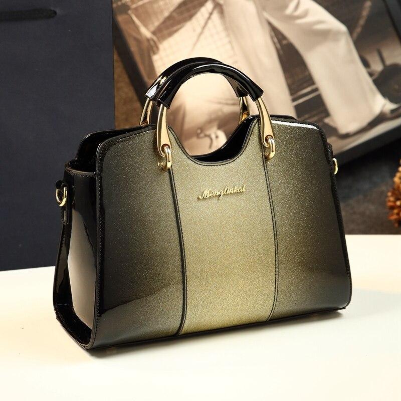 Nueva llegada bolsos de hombro de cojín sencillo de estilo coreano bolsos de mano de marca famosa bolso de mano de cuero de charol - 4