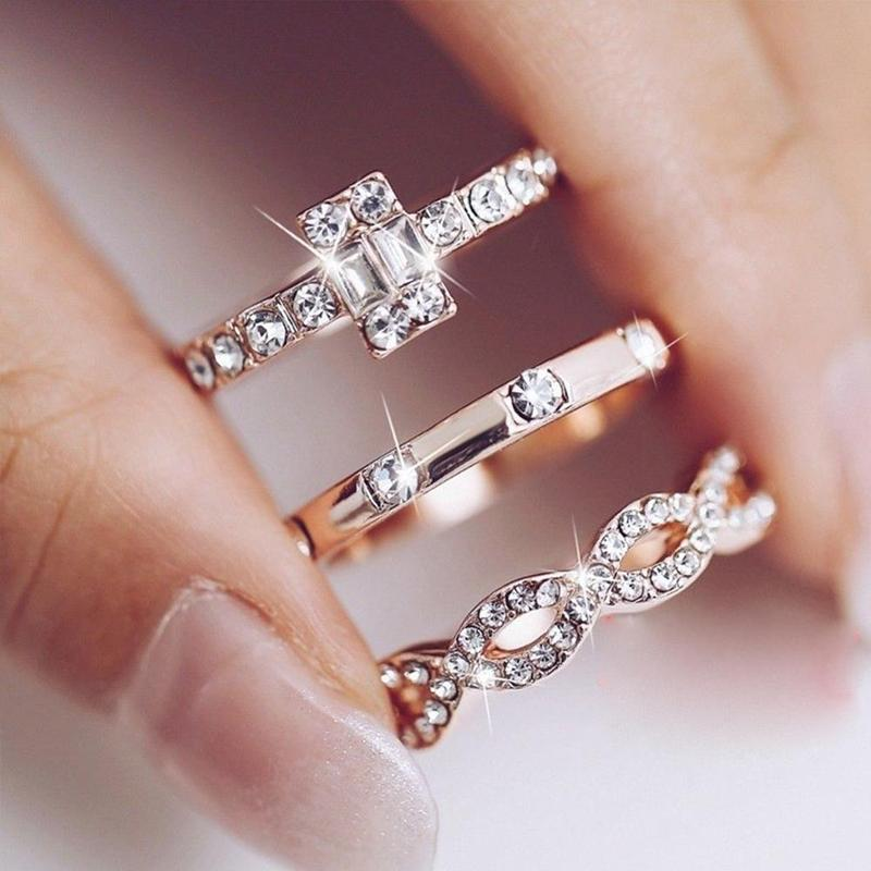 3Pcs/Set Women Lady Crystal Rose Gold Stackable Finger Boho Jewelry Rings
