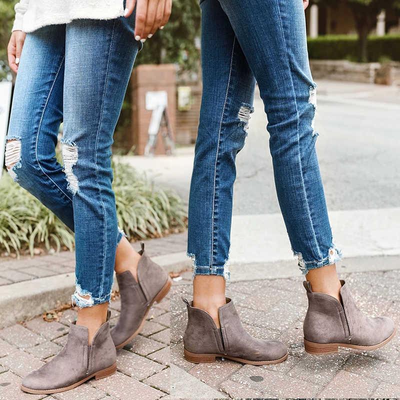 HEFLASHOR PU Kış Çizmeler kadın yarım çizmeler Kadınlar Için Sivri Burun Düşük Topuk Platformu fermuar Bayanlar Ayakkabı Bota Feminina 2019