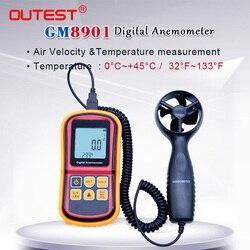 GM8901 0 ~ 45 m/s wysoka dokładność Anemometro wyświetlacz LCD anemometr cyfrowy miernik prędkości wiatru miernik temperatury powietrza z pojemnik turystyczny|wind meter|anemometer wind meterdigital anemometer -