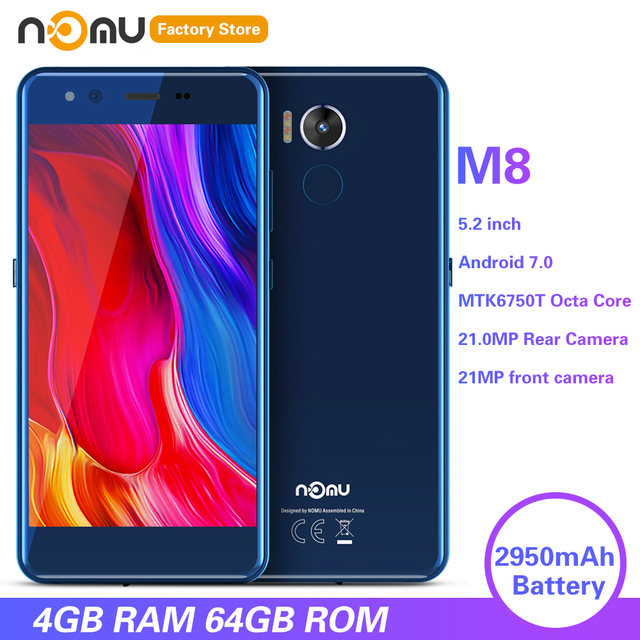 IP68 NOMU M8 4G الهاتف الذكي 5.2 بوصة أندرويد 7.0 MTK6750T ثماني النواة 1.5GHz 4GB RAM 64GB ROM 21.0MP كاميرا خلفية 2950mAh الهواتف المحمولة