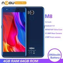 IP68 NOMU M8 4G Smartphone 5.2 inç Android 7.0 MTK6750T Octa çekirdek 1.5GHz 4GB RAM 64GB ROM 21.0MP arka kamera 2950mAh cep telefonları