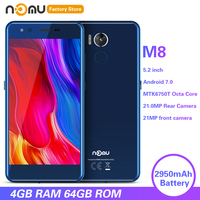 NOMU M8 4G Smartphone 5.2 inch Android 7.0 MTK6750T Octa Core 1.5GHz 4GB RAM 64GB ROM 21.0MP Rear Camera 2950mAh Cellphones