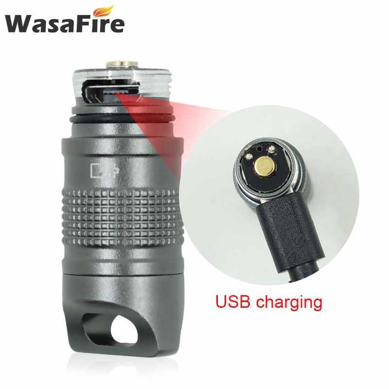جديد سوبر مصباح سلسلة مفاتيح صغيرة ضوء إضاءة مقاومة للماء مصباح يدوي USB قابلة للشحن جيب Linterna مصباح للصيد التخييم