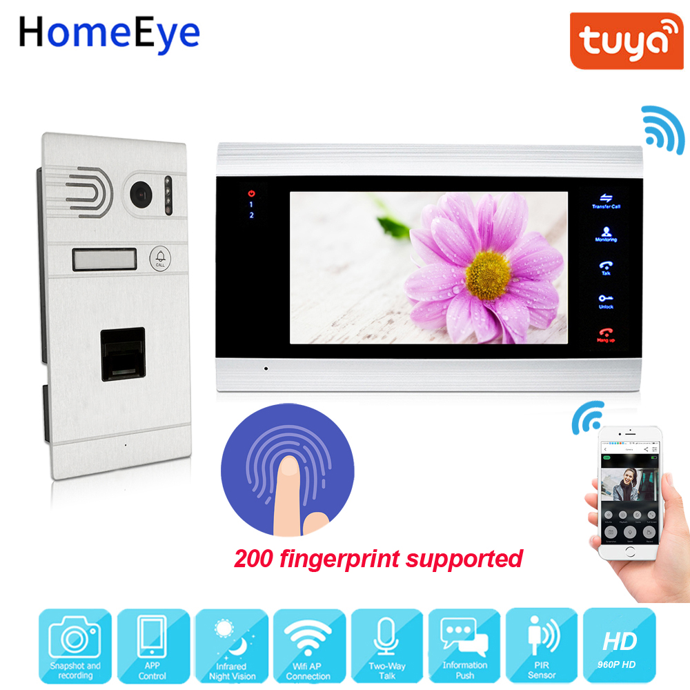 Tuya App Remote Unlock WiFi IP Video Door Phone 960P HD Video Intercom System Home Access Control Fingerprint Motion Detection