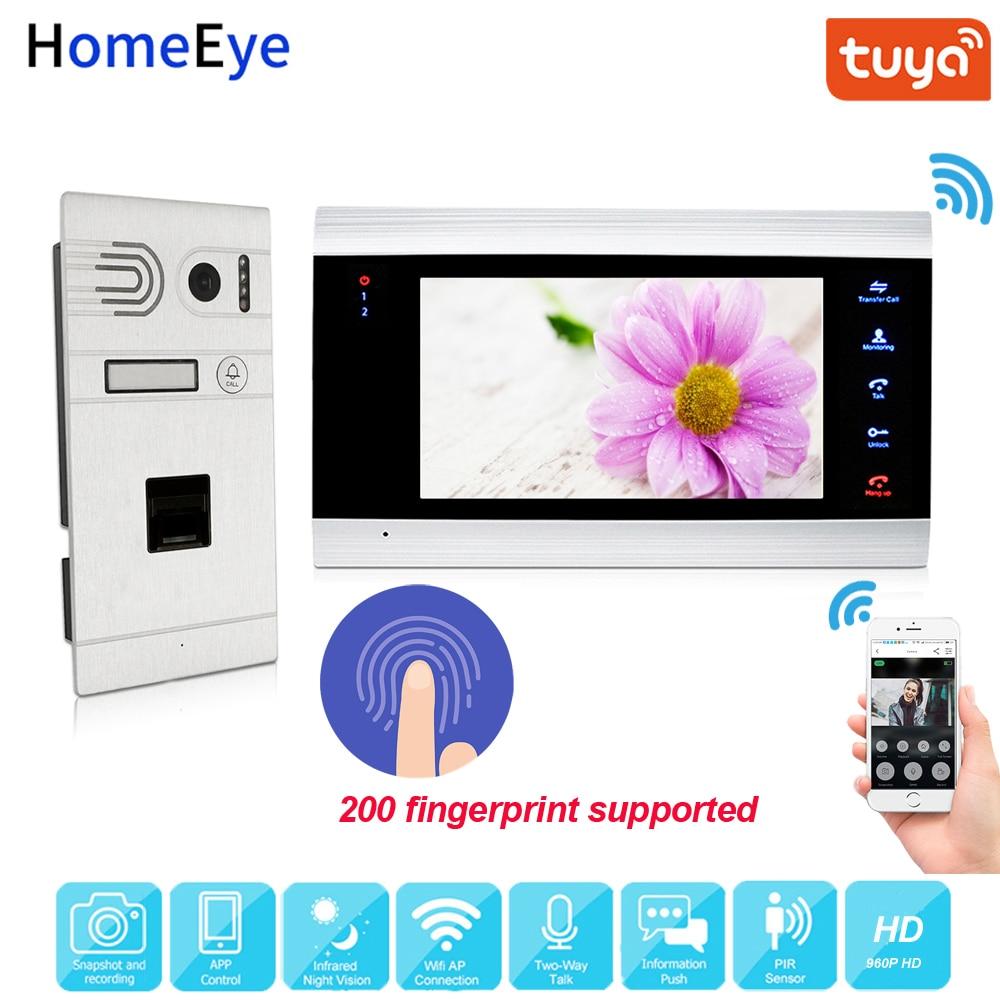 Tuya App Remote Unlock WiFi IP Video Door Phone 960P HD Video Intercom System Home Access Control Fingerprint Motion Detection