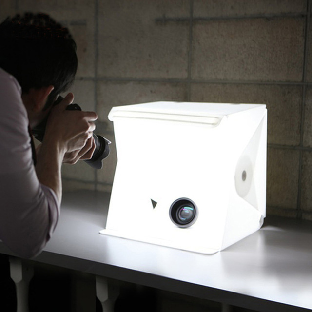 """Mini caja de luz plegable de 24cm / 9 """"para estudio de fotografía, caja de luz LED suave para habitación, caja de fondo de foto de cámara, Kit de tienda de iluminación"""