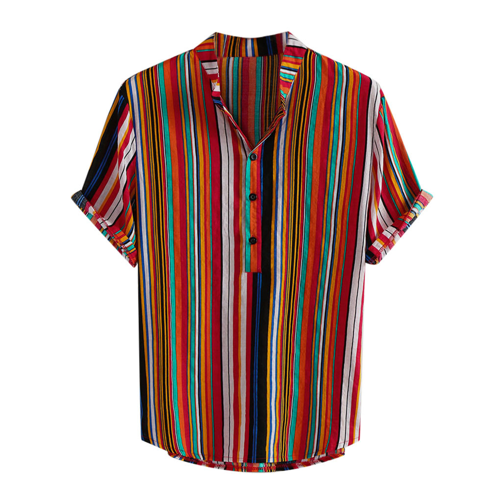 WOMAILMen's Shirt 2019 Fashion Casual Linen Stripe Shirts Splicing Pattern Short Sleeve  Fits Stand Collar Shirts Ture To Size