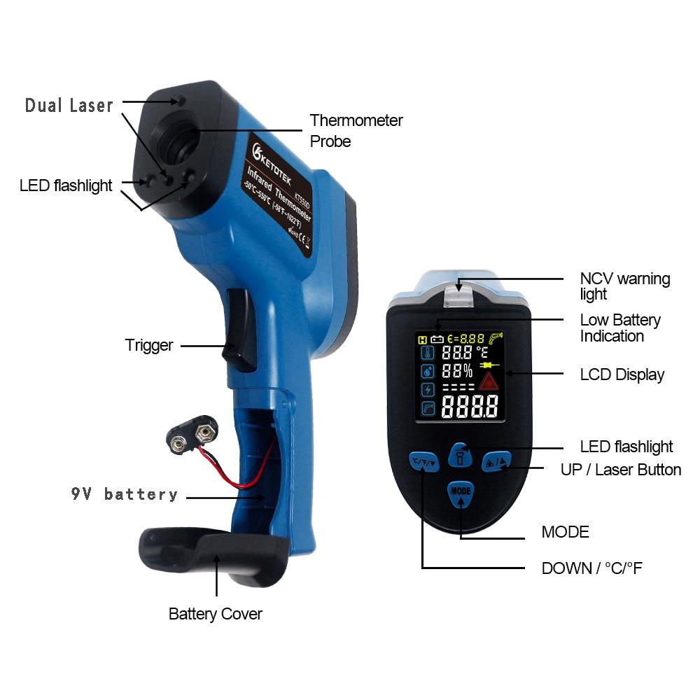 Image 2 - Инфракрасный термометр, гигрометр 0 99% RH, цифровой  Бесконтактный Двойной лазерный пистолет, цветной lcd K термопара  KT550DПриборы для измерения температуры   -