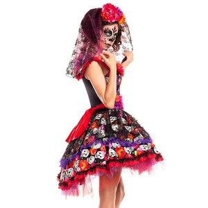 Image 2 - Traje de cosplay de caveira zumbi, fantasia mexicana do dia das bruxas, dia das bruxas, carnaval, festa, flor, fantasma, vestido de noiva