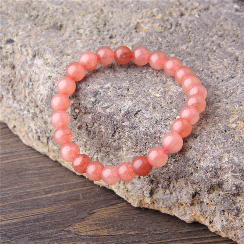 Çilek kuvars boncuk Nracelet doğal taş kırmızı kristal bilezik boncuklu Braclet erkekler kadınlar için el takı Erkek Bileklik M