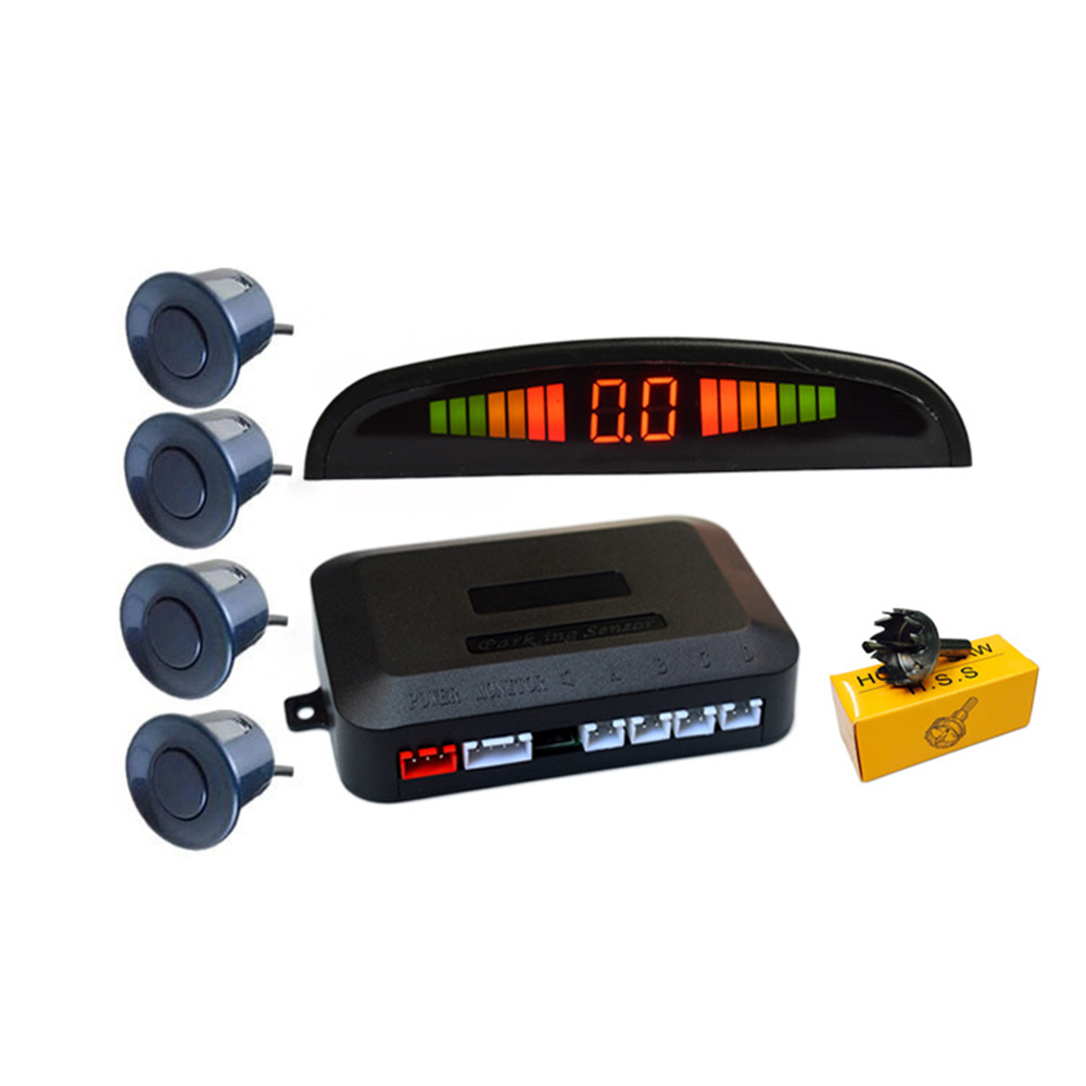 Car LED Parking Sensor Kit 4 Sensors 22mm Backlight Display Reverse Backup Radar Monitor System 12V 6 Colors