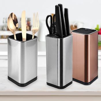 Akcesoria kuchenne stojaki na noże Kitchen Bar pojemnik na noże blok stojak na noże uchwyt blok narzędzia kuchenne wysoka jakość tanie i dobre opinie 22887 Ekologiczne STAINLESS STEEL Silver Rose gold