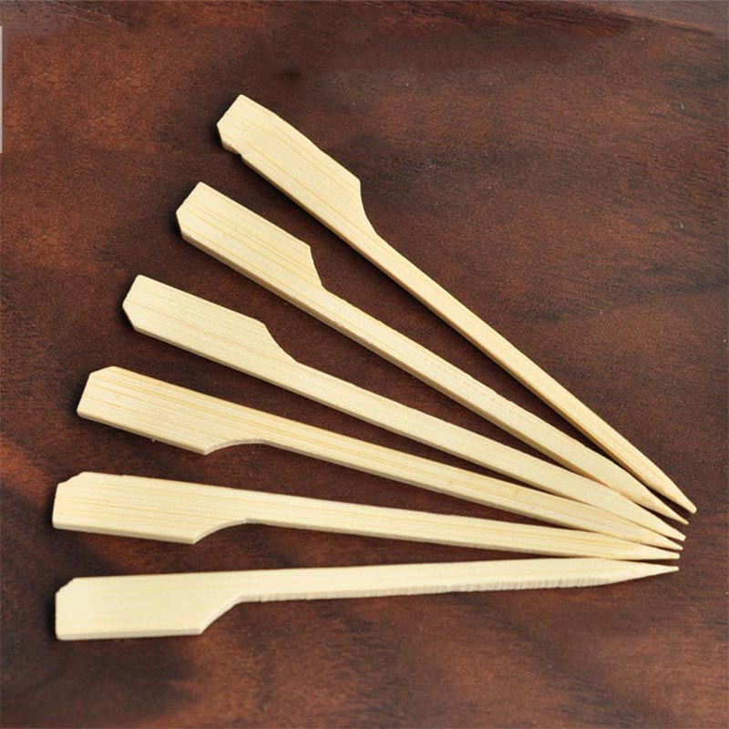 100-200pcs 9cm 3.5in Natural Bamboo Paddle Pick Flat Wood Skewer Fruit Food Picker Cocktail Paddle Bar Barbecue Party Supplies