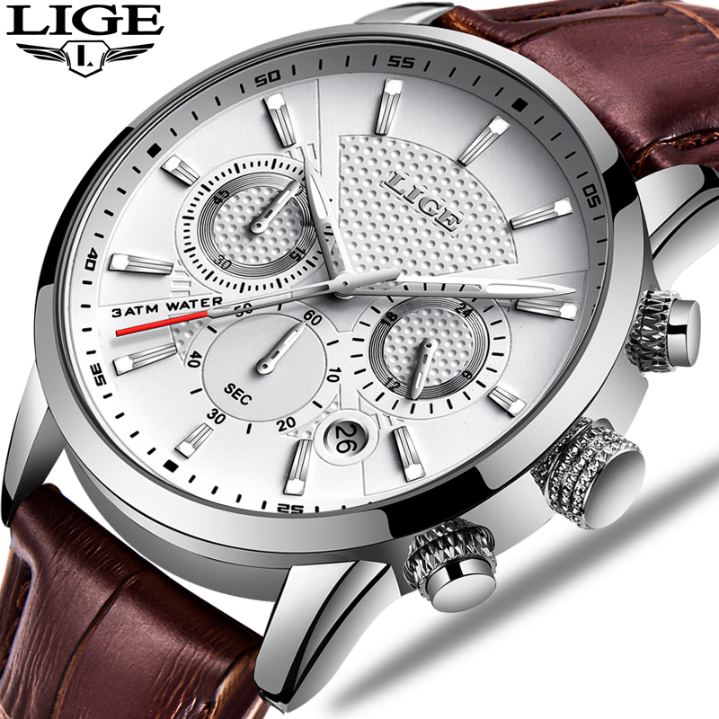 LIGE Fashion Mens Watches Analog Quartz Wristwatches Men 30M Waterproof Chronograph Sport Date Leather Band Watches Montre Homme