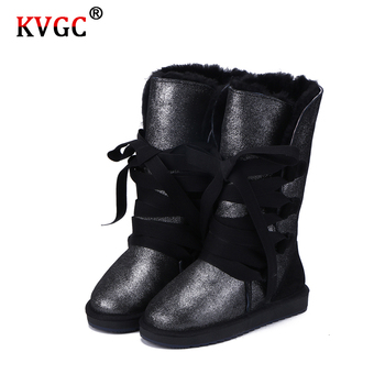 KVGC 2020New classic Fashion Cowhide Leather Wool Fur Lined Women Casual Winter high quality Boots for Ladies Lace Up Snow Boots aiyuqi genuine leather female winter boots full cowhide waterproof wool lined fashion women booties female bare black boots