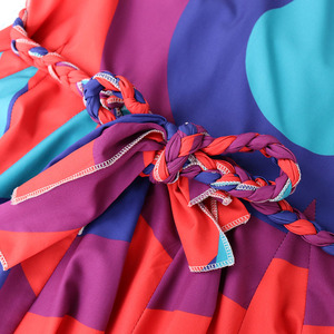 Image 5 - TWOTWINSTYLE Casual Stampa Abiti di Colore Hit Delle Donne O Collo Della Lanterna Manicotto Dei Tre Quarti Vita Alta Lace Up Vestito Volant Femminile nuovo