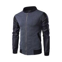 Men Baseball Jackets new Korean Style PU Leather Sleeve Patchwork Zipper Coat Fa