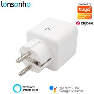 Lonsonho Tuya ZigBee Smart Plug EU 16A Power Monitor Timer Socket Smart Home Wireless Compatible Alexa Google Home Assistant